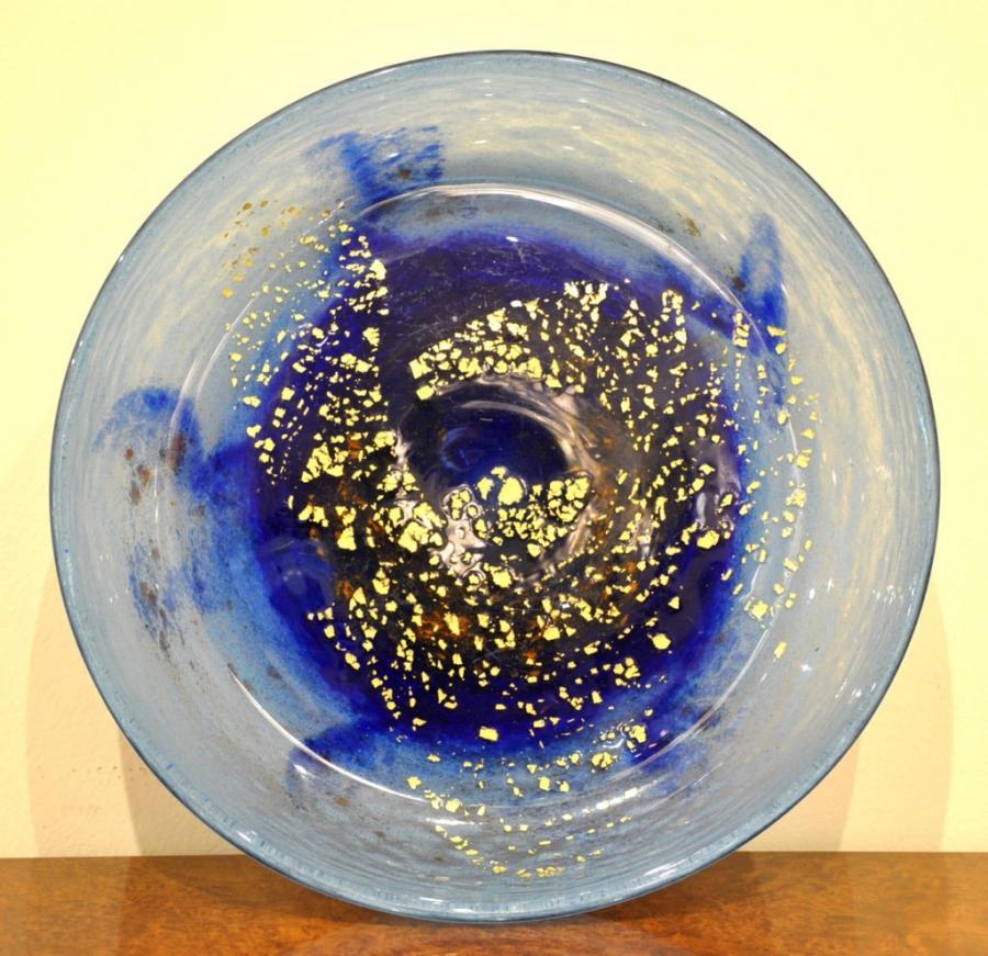 Daum Nancy Blue Glass Bowl Inclusion Gold Art Deco 1925-1930, More Informations...
