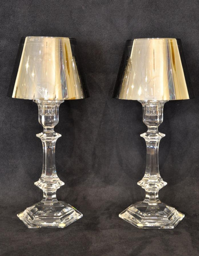 Philippe Starck & Baccarat Our Fire Pair Of Crystal Candlesticks , More Informations...