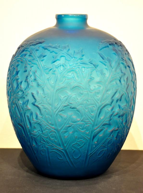 René Lalique Vase ACANTHES BLEU Art Deco 1921, More Informations...