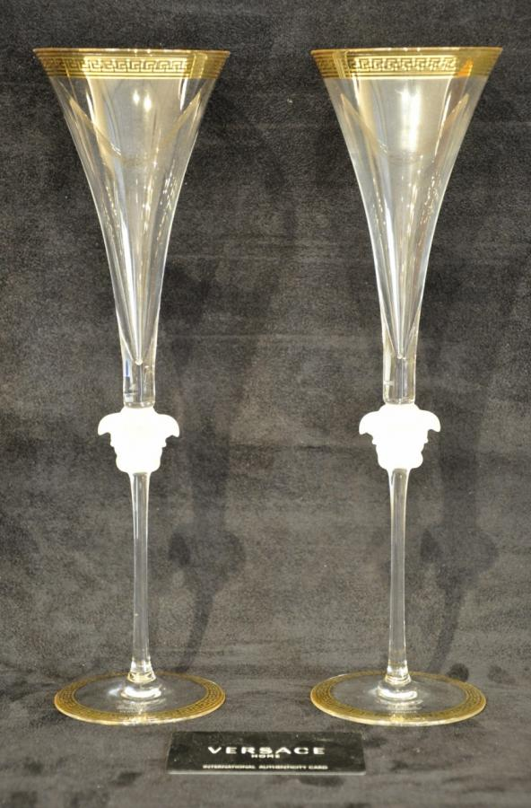 Versace & Rosenthal Medusa d'Or luxe Set 2 Champagne Flutes, More Informations...