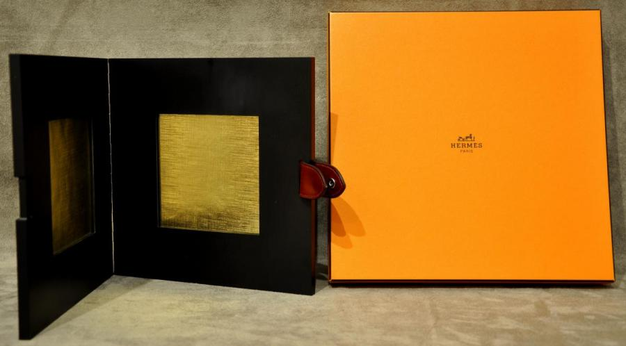 Hermès Double Frame Ebony Gabon & Leather With Box , More Informations...