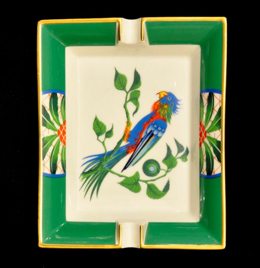 Hermès PARIS  PARROT Empty Ashtray in Limoges Porcelain, More Informations...