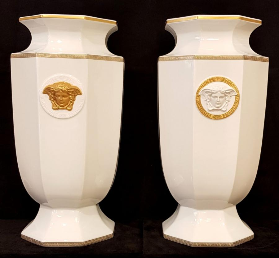 Rosenthal Porcelain Maison Versace Pair Of Vases Gorgona Model Height 55cm , More Informations...