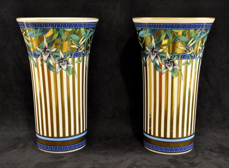 Versace & Rosenthal Pair Of Porcelain Vases Wild Flora , More Informations...