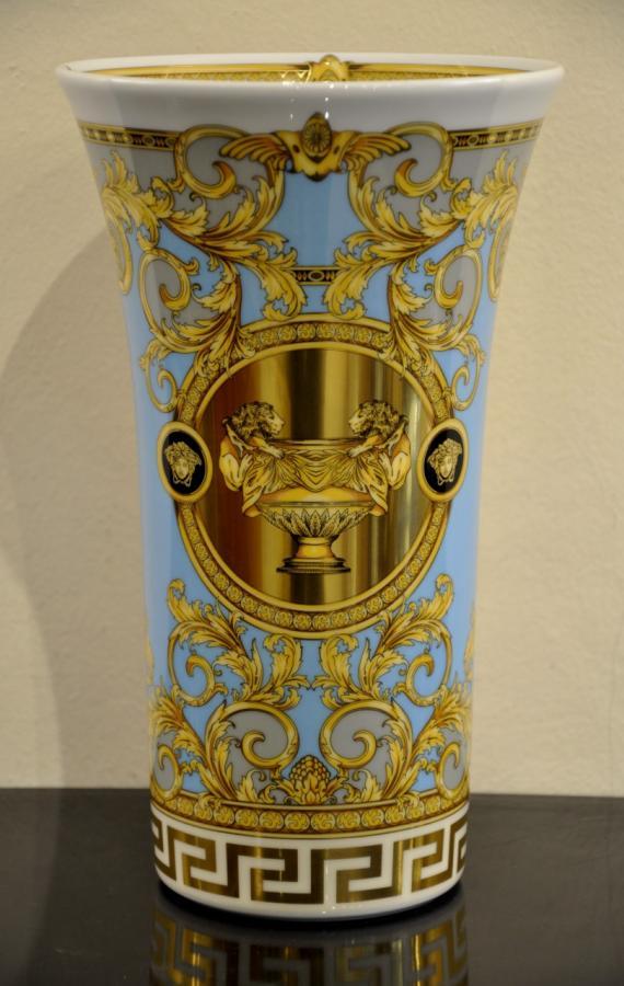 VERSACE & ROSENTHAL Vase Porcelain PRESTIGE GALA LE BLEU , More Informations...
