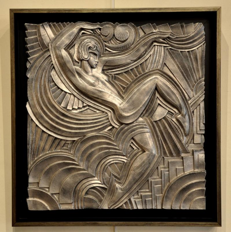 MAURICE PICAUD SAYS PICO BAS RELIF SILVERED PLASTER ART DECO