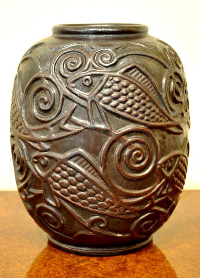 Mougin Nancy & Ventrillon-le Jeune Vase Sandstone Art Deco 1925-1930, More Informations...