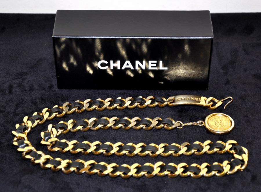 Chanel Paris Ceinture Plaquée Or & Cuir Noir Avec Boite, Plus d'infos...