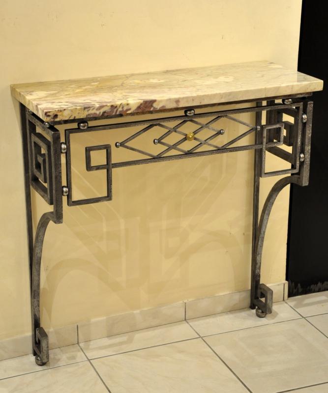 console wrought iron art deco 1930. Black Bedroom Furniture Sets. Home Design Ideas