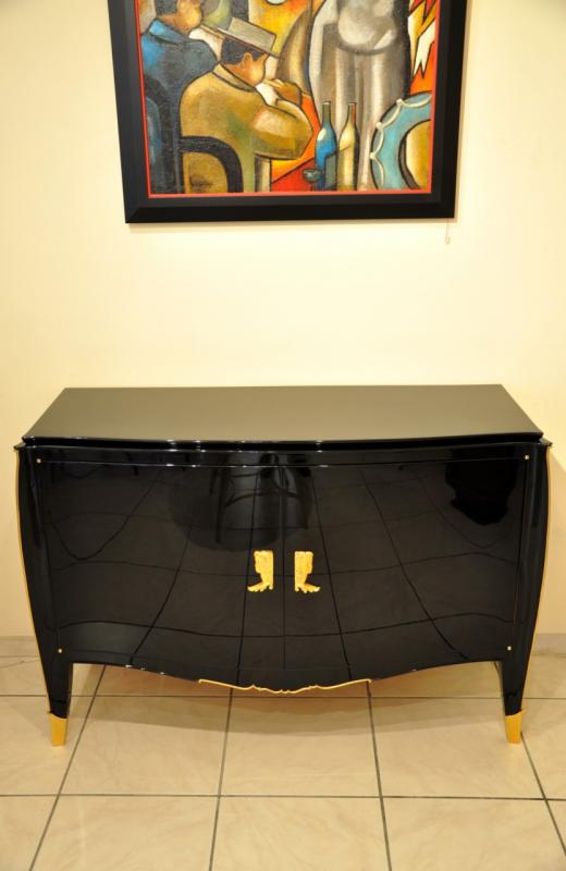 HENRI GOULET CABINET COMMODE BLACK LAQUER 1940-1945, More Informations...
