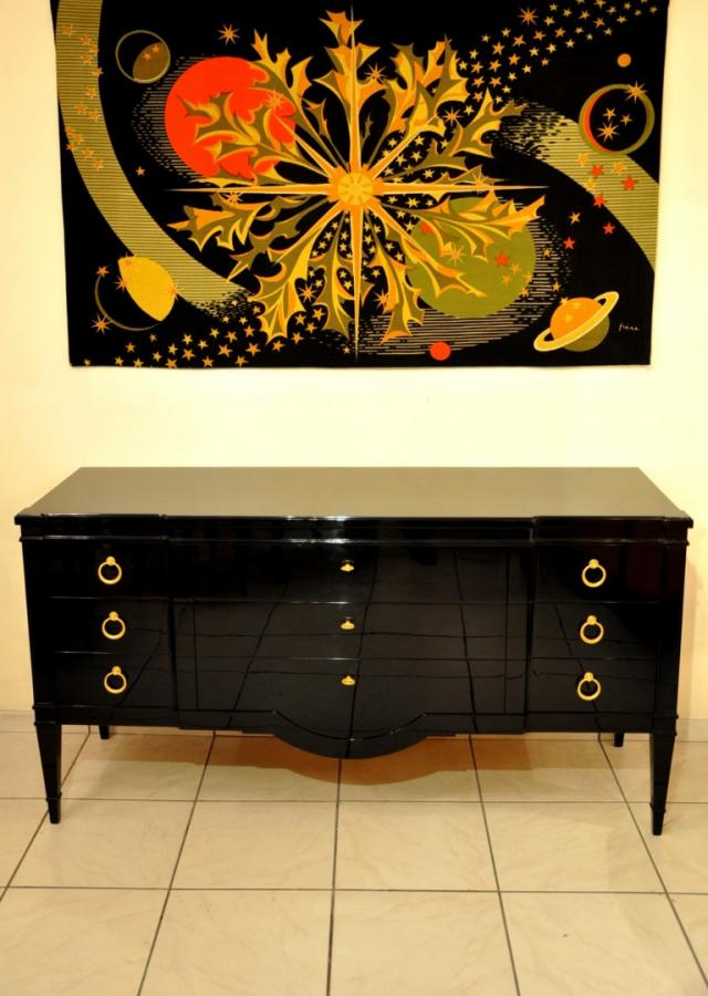 JANSEN  DECORATION  CHEST OF DRAWERS  Black Lacquer Circa 1950, More Informations...