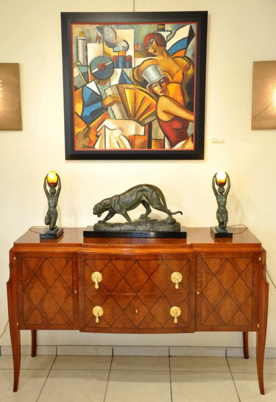 JEAN PASCAUD CHEST OF DRAWERS in AMBOYNA  & EBONY CIRCA 1940, More Informations...