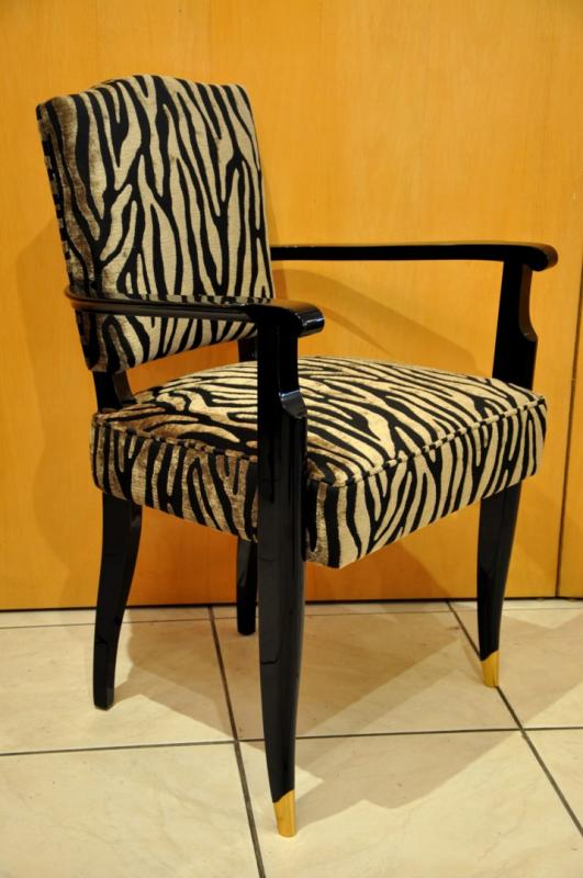 JEAN PASCAUD PAIR OF ARMCHAIRS IN BLACK LACQUER ART DECO 1930, More Informations...