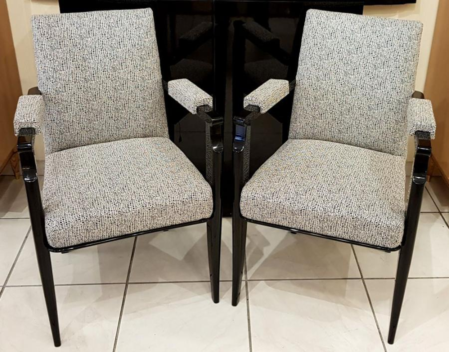 Jean Pascaud Pair Of Black Lacquer Armchairs 1940 , More Informations...