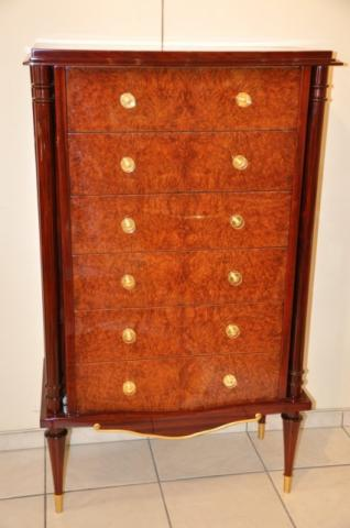 JULES LELEU CHEST OF DRAWERS IN MARQUETRY, More Informations...