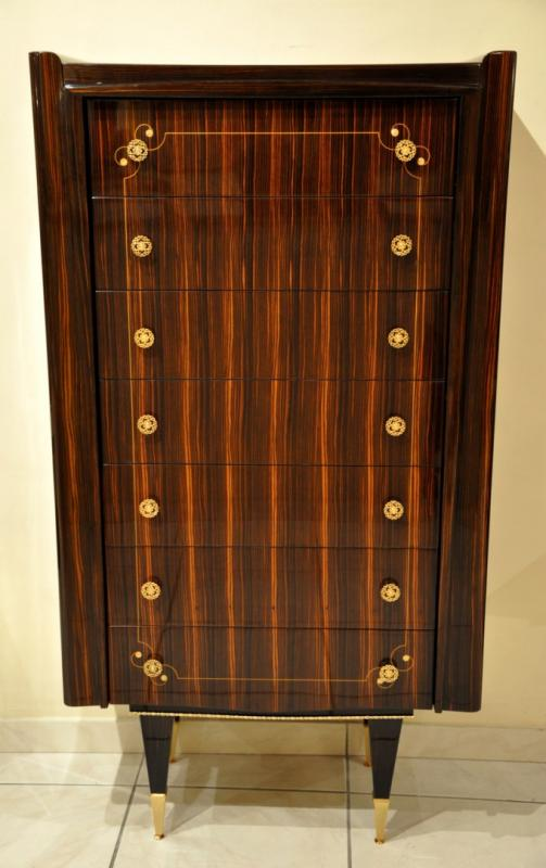 JULES LELEU CHEST OF SEVEN DRAWERS MACASSAR EBONY CIRCA 1945, More Informations...