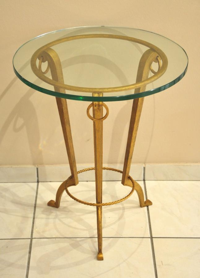 Maison Ramsay Coffee Table Wrought Iron Gilded & Glass Circa 1940, More Informations...