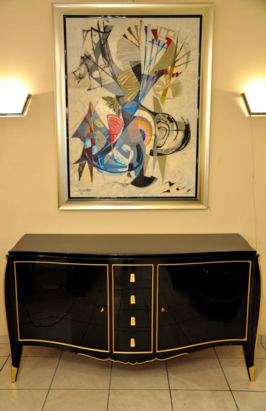 Maurice rinck black lacquer commode circa 1940 - Commode laquee noire ...