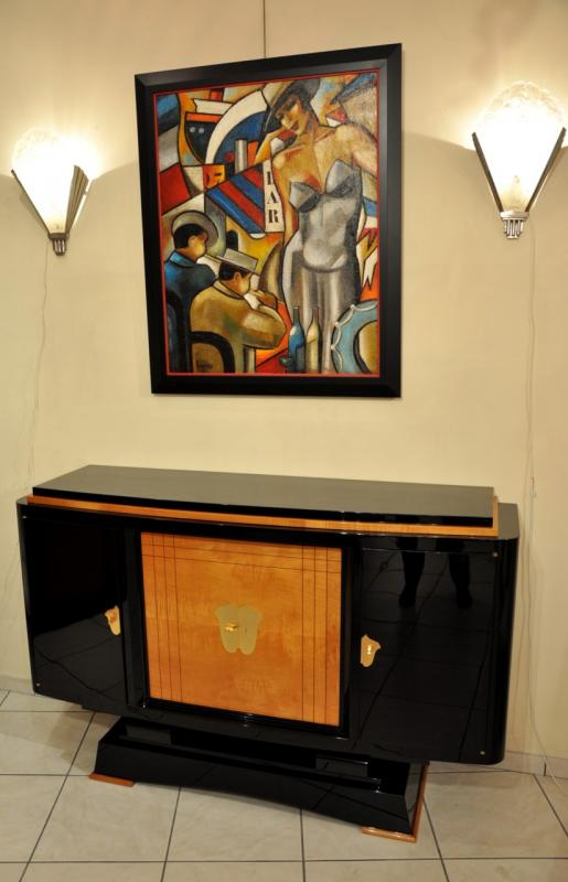 MAXIME OLD BLACK LAQUER AND SYCAMOR CABINET 1940, More Informations...