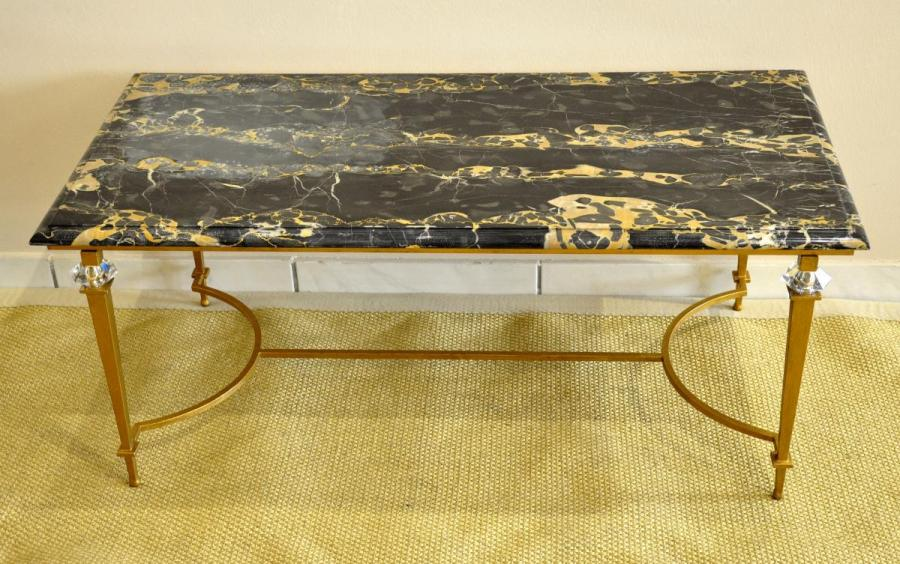 Ramsay Decoration Coffee Table Wrought Iron Gold & Marble Portor , More Informations...