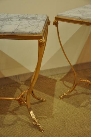 RINCK Maurice pair of table in gilded bronze, More Informations...