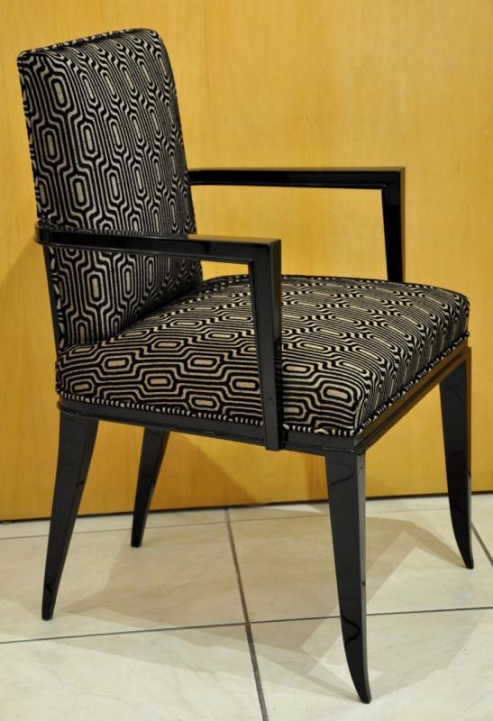 SOUBRIER PARIS PAIR OF  ARMCHAIRS BLACK  LAQUER  ART DECO 1930, More Informations...