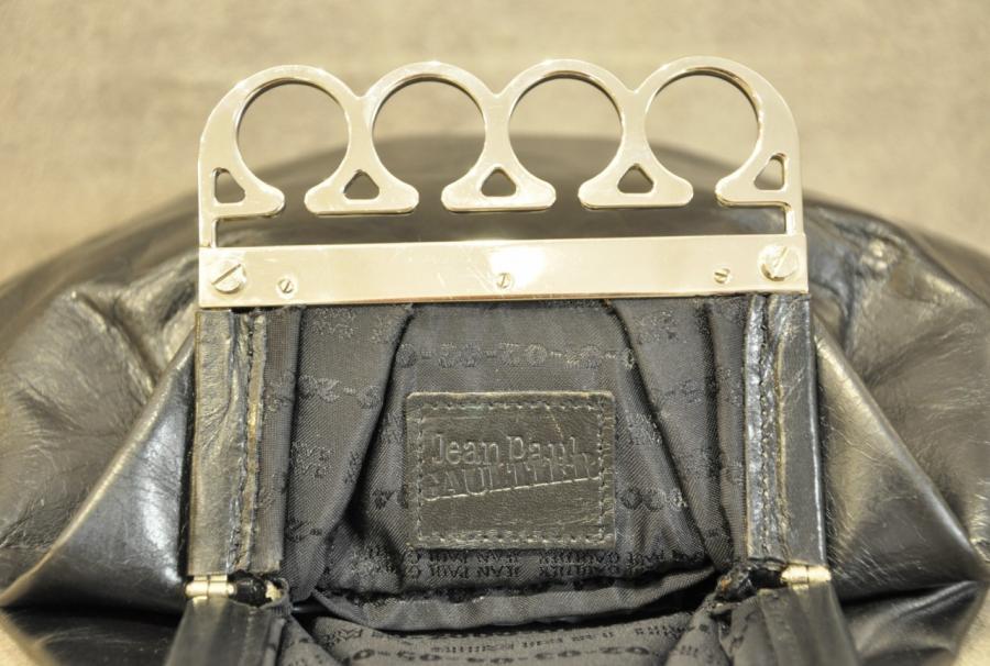 f6dc1f6325 Jean-paul Gaultier VINTAGE Black Leather Bag brass knuckles