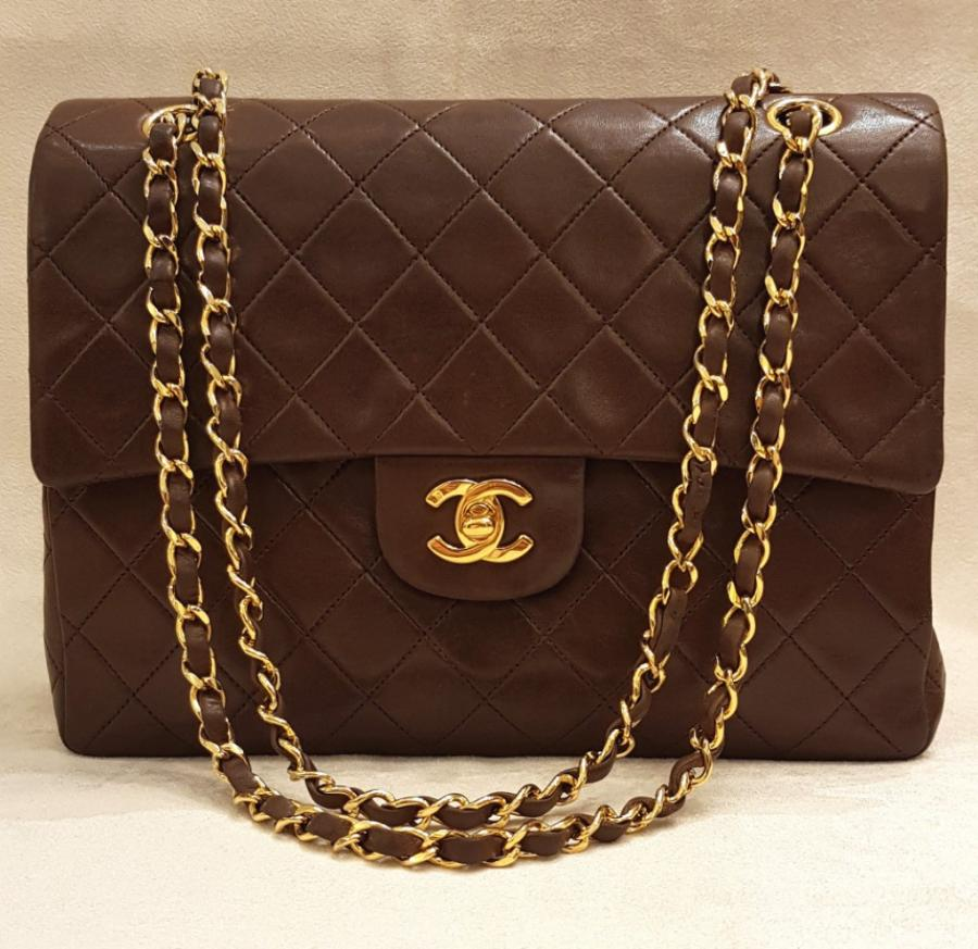 CHANEL CLASSIC BAG BROWN LEATHER, More Informations...
