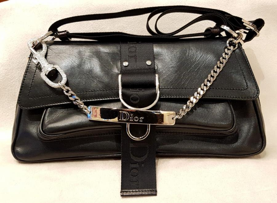 CHRISTIAN DIOR BAG IN  BLACK  LEATHER AND RHINESTONE , More Informations...