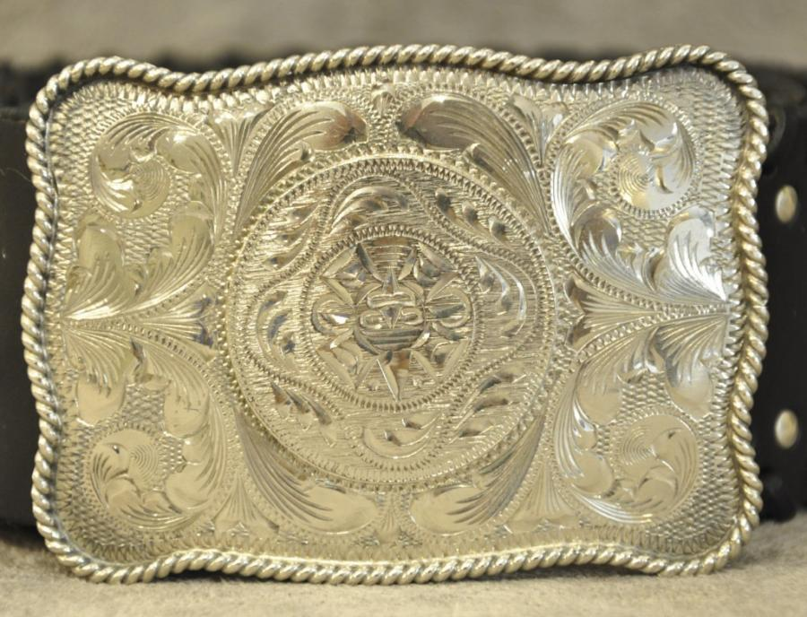 Gianni Versace VINTAGE Womens Belt Black Leather & Silver Guilloche, More Informations...