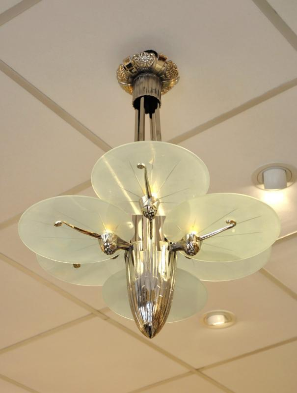 CHANDELIER silvered Bronze with 6 lights  Art Deco 1930, More Informations...