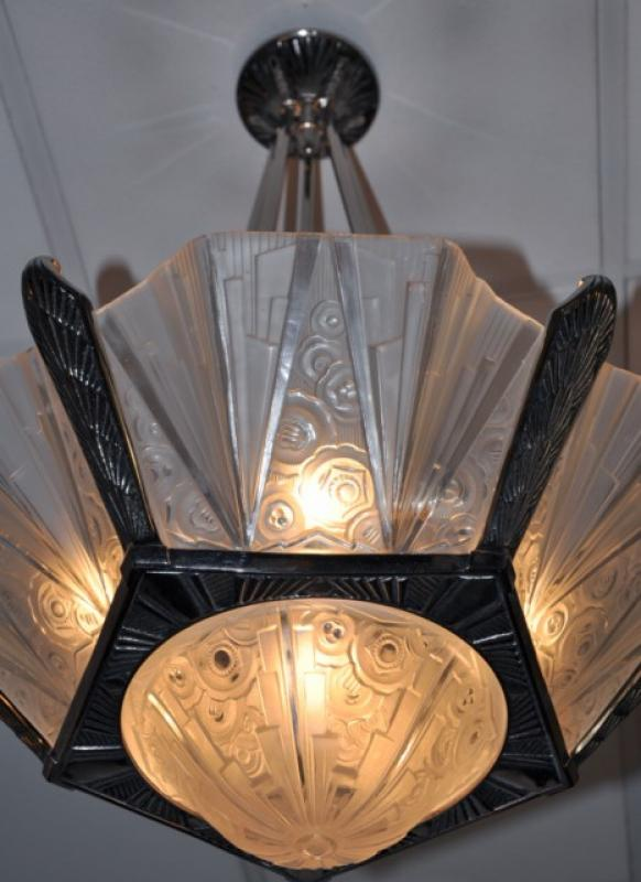 Hettier vincent chandelier art deco 1930 - Luminaire art deco plafonnier ...