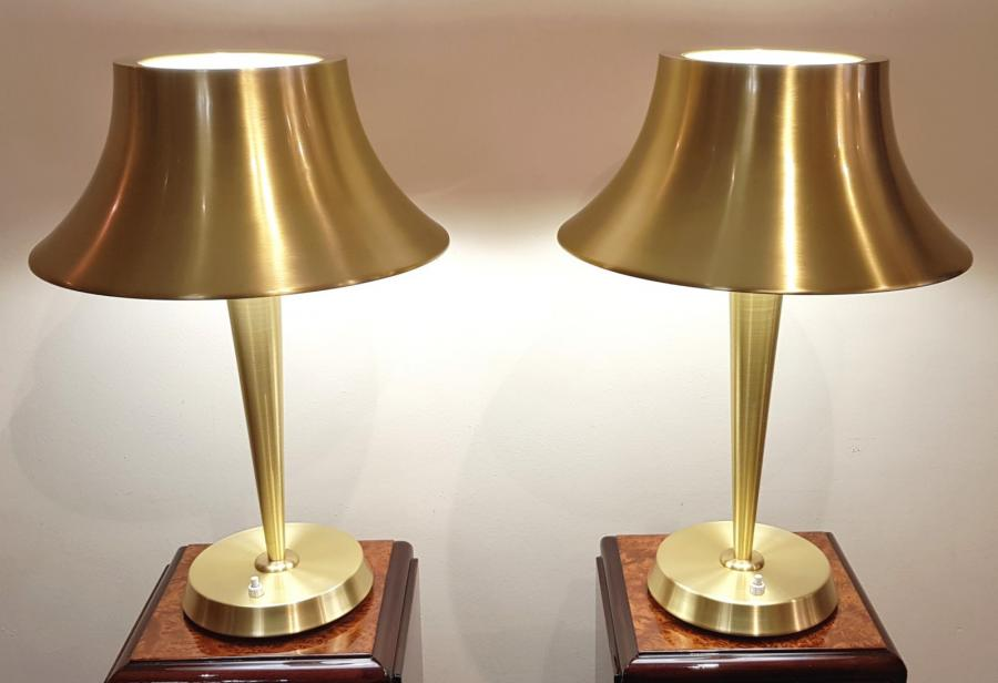 Jean Perzel Pair Of Design Lamps Gilt Bronze 1950-1960, More Informations...