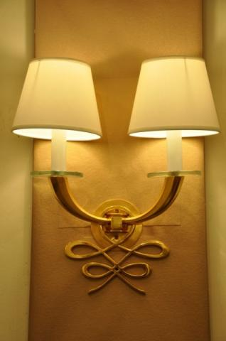 JULES LELEU pair of sconces in gilded bronze , More Informations...