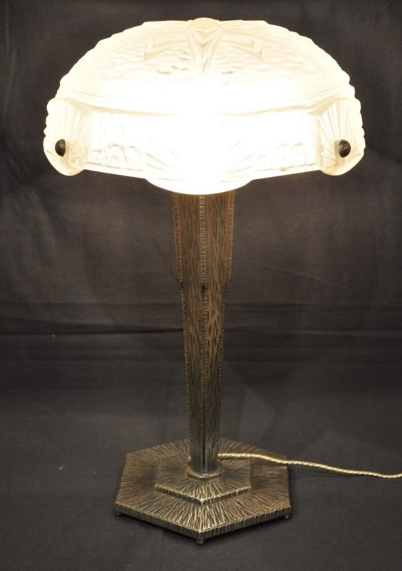 MULLER FRERES LUNEVILLE LAMP GLASS &  WROUGHT IRON ART DECO 1930, More Informations...