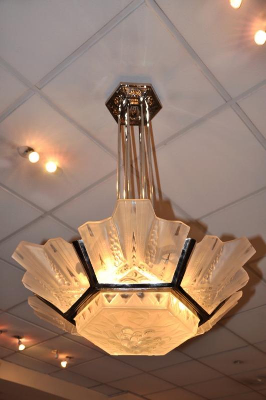 muller freres chandelier art deco 1930. Black Bedroom Furniture Sets. Home Design Ideas