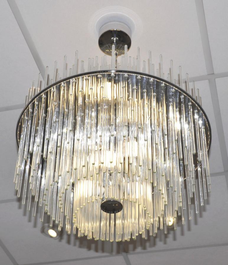 Venini Italy Chandelier Design 1960 Glass & Chrome , More Informations...