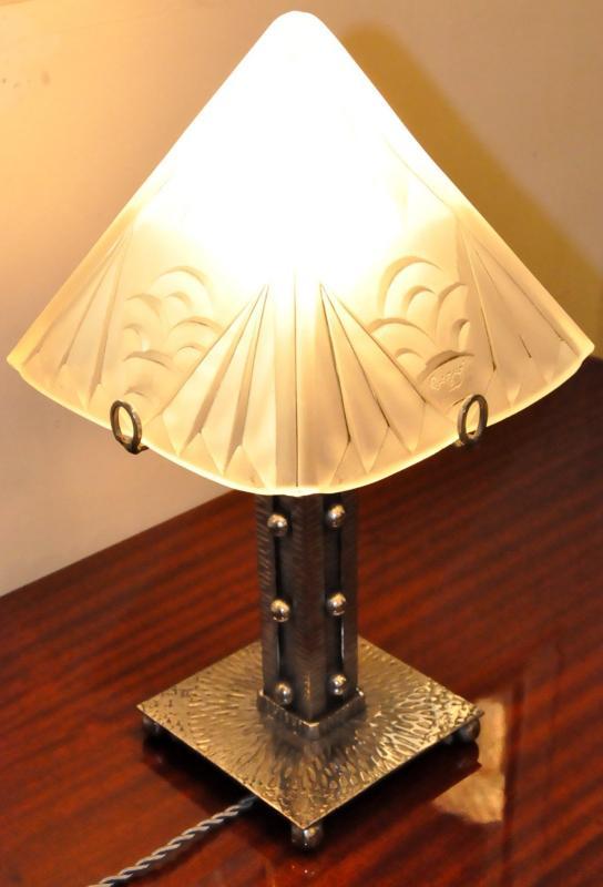 Degue Lampe Fer Forge Verre Art Deco 1930
