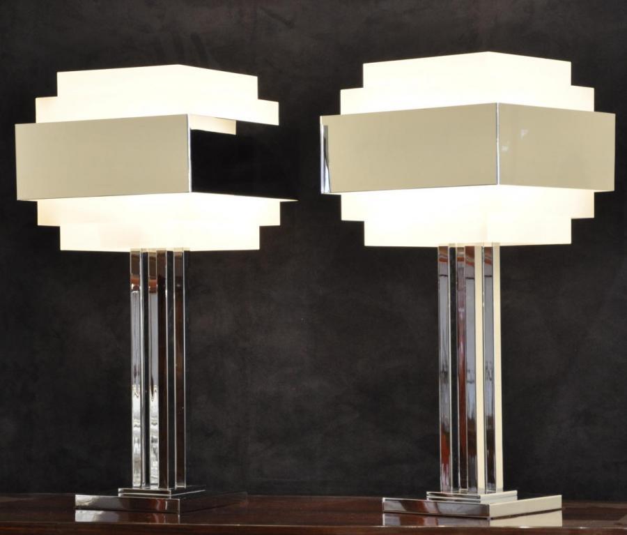 Jean Perzel Paire De Lampes Tirage limité Design Modèle 944 , Plus d'infos...
