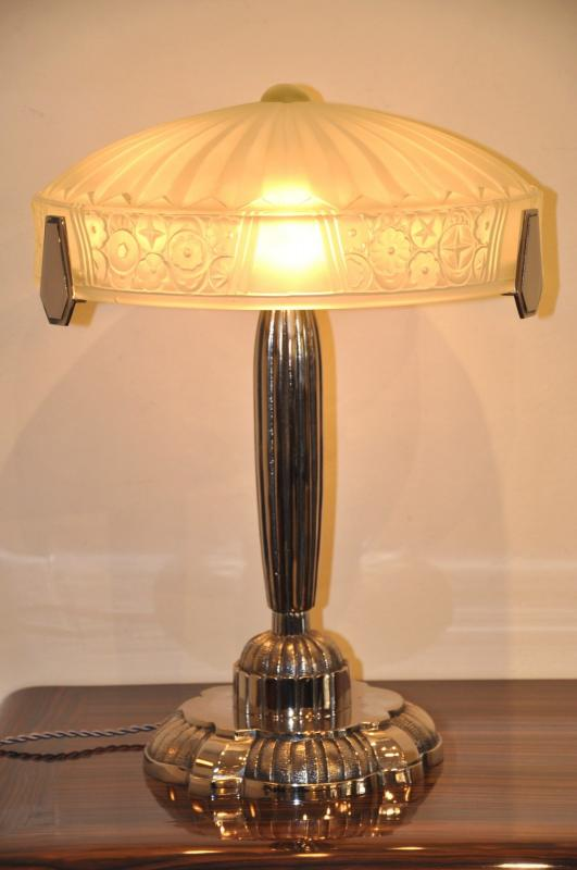 LAMPE CRAZY QUEEN VERRE & BRONZE ART DECO 1930, Plus d'infos...