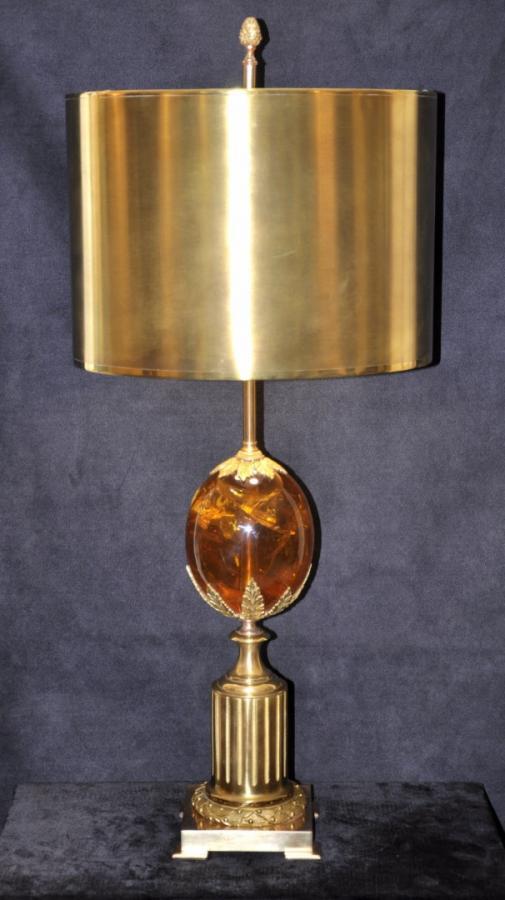 Maison Charles Lampe Bronze & Résine Fractale 1970, Plus d'infos...
