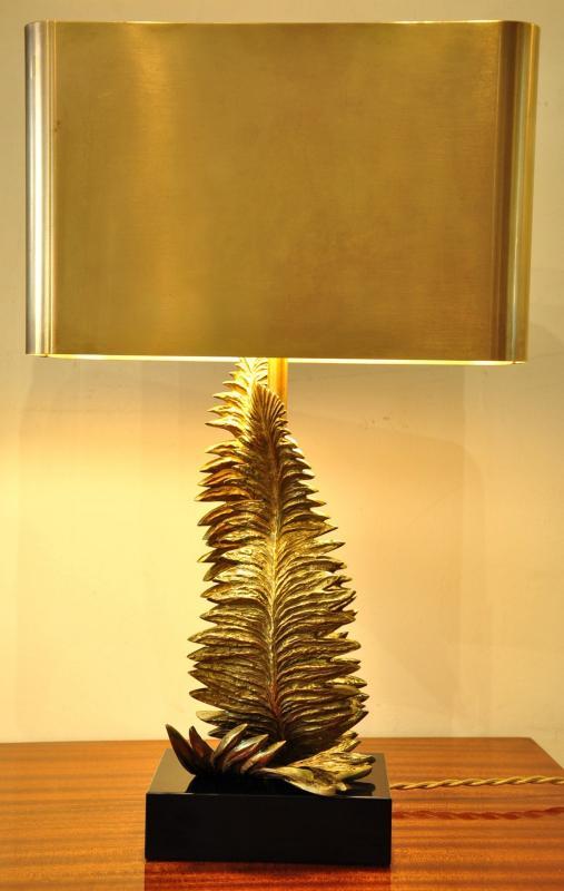 Maison Charles Lampe Fougère Bronze Doré Circa 1960 , Plus d'infos...