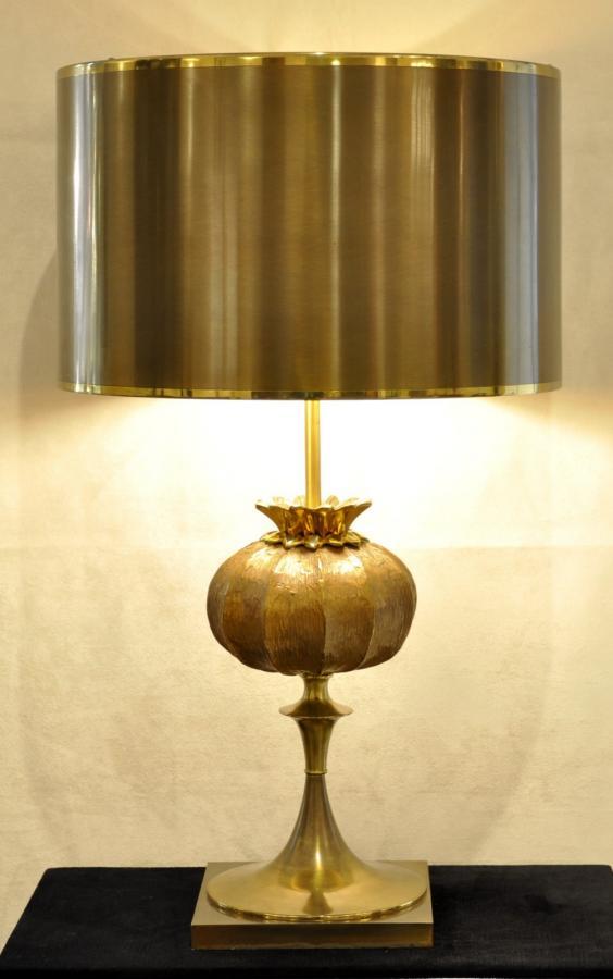 Maison Charles Lampe Sculpture Pavot Bronze 1965 , Plus d'infos...