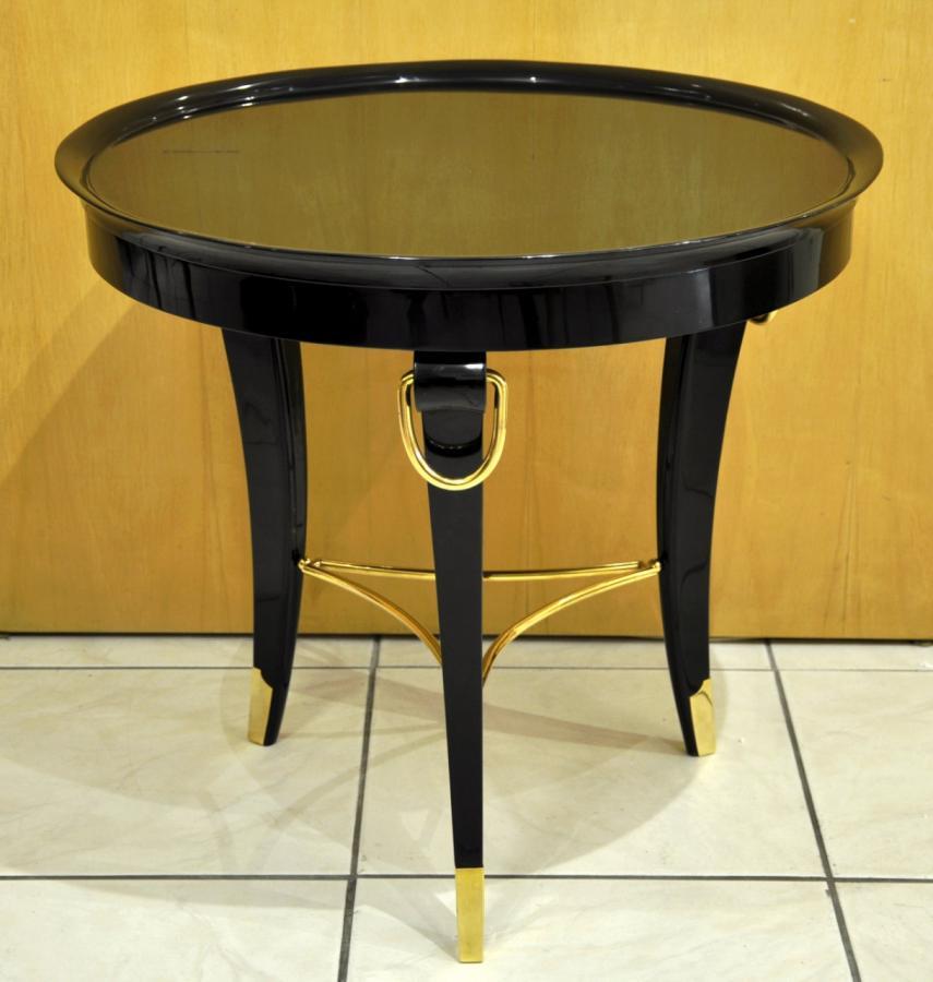 Table basse Guéridon Laque Noire Design 1950 , Plus d'infos...