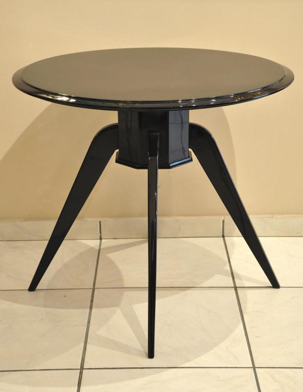 Table Guéridon Art Déco Laque Noire 1930 , Plus d'infos...