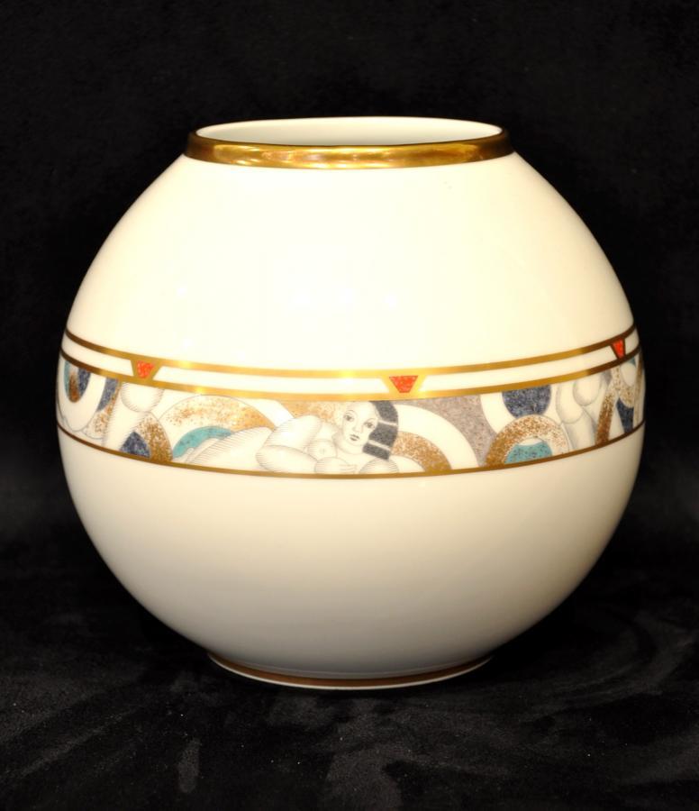 Bernardaud Vase Boule Porcelaine Poudré Or Circa 1970, Plus d'infos...