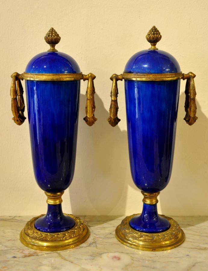 Paul Millet & Manufacture De Sèvres Paire De Vases Pots Couverts Circa 1930 , Plus d'infos...
