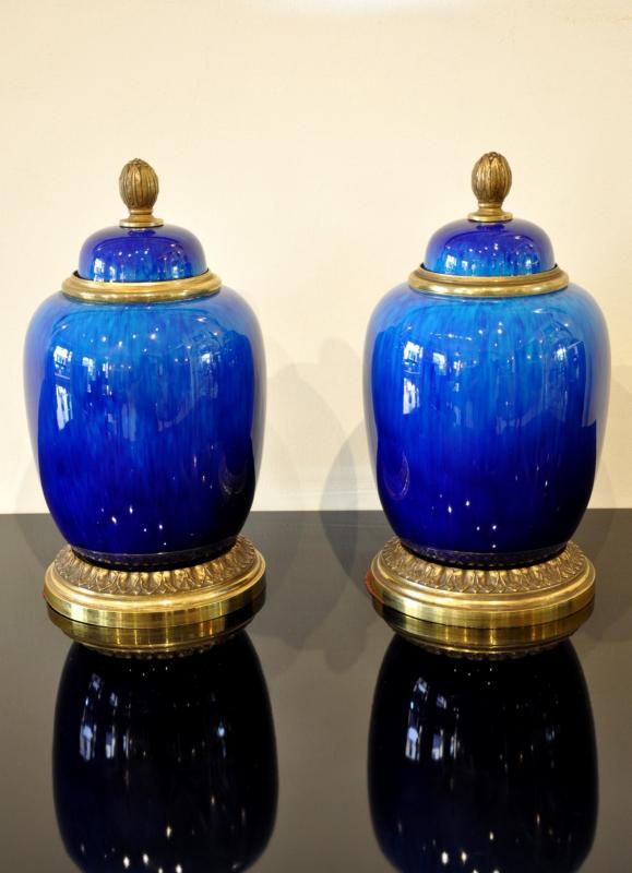 Paul Millet & Porcelaine De Sevres Paire Vases Pots Couverts Circa 1940, Plus d'infos...