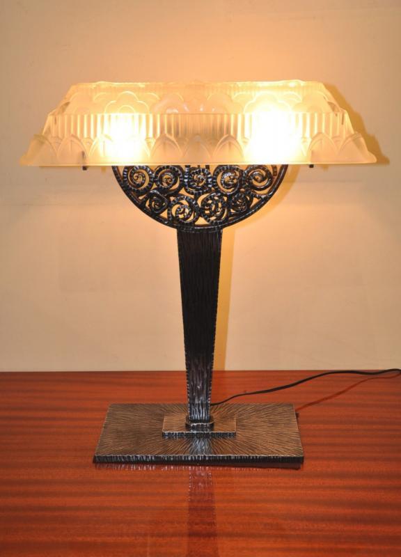 Hettier Vincent Lampe Fer Forge Verre Art Deco 1930