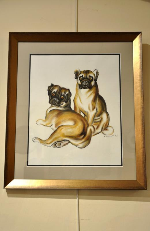 André MARGAT DRAWING PASTEL 2 PUG DOGS 1963, More Informations...